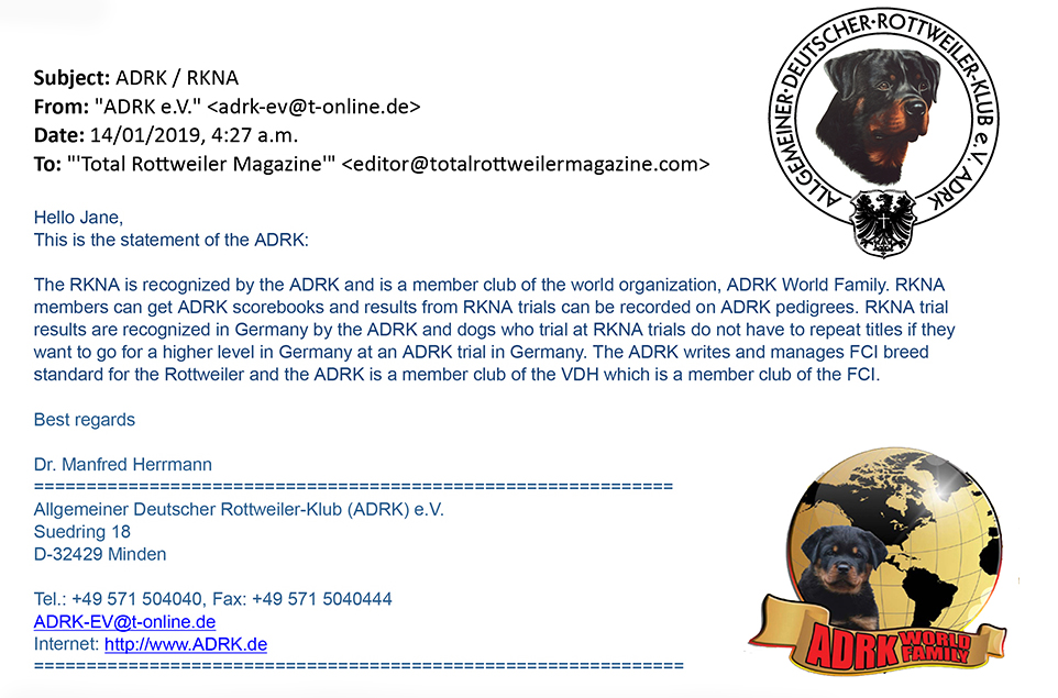 ADRK Statement Regarding RKNA